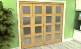 Frosted Glazed Oak 4 Door 4l Roomfold Grande (3 + 1 X 533mm Doors) Image