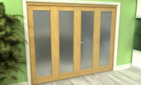 Frosted Glazed Oak 4 Door Roomfold Grande (2 + 2 X 610mm Doors) Image