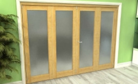 Frosted Glazed Oak 4 Door Roomfold Grande (2 + 2 X 686mm Doors) Image