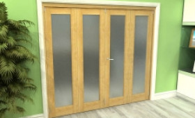 Frosted Glazed Oak 4 Door Roomfold Grande 2400mm (8ft) 2 + 2 Set Image