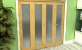 Frosted Glazed Oak 4 Door Roomfold Grande 2400mm (8ft) 3 + 1 Set Image