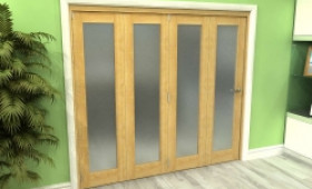 Frosted Glazed Oak 4 Door Roomfold Grande 2400mm (8ft) 4 + 0 Set Image