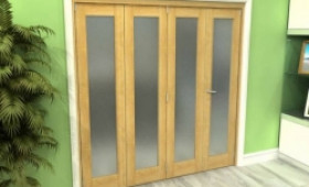 Frosted Glazed Oak 4 Door Roomfold Grande (3 + 1 X 533mm Doors) Image