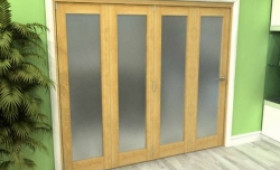Frosted Glazed Oak 4 Door Roomfold Grande (4 + 0 X 686mm Doors) Image