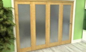Frosted Glazed Oak 4 Door Roomfold Grande (4 + 0 X 762mm Doors) Image