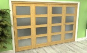 Frosted Glazed Oak 5 Door 4l Roomfold Grande (4 + 1 X 610mm Doors) Image