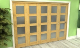 Frosted Glazed Oak 5 Door 4l Roomfold Grande (5 + 0 X 610mm Doors) Image
