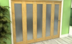 Frosted Glazed Oak 5 Door Roomfold Grande (5 + 0 X 610mm Doors) Image