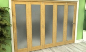 Frosted Glazed Oak 5 Door Roomfold Grande (5 + 0 X 762mm Doors) Image