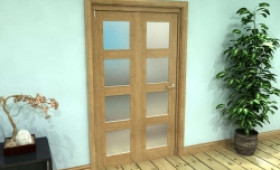 Frosted Glazed Oak Prefinished 2 Door 4l Roomfold Grande (2 + 0 X 533mm Doors) Image