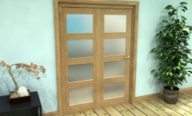 Frosted Glazed Oak Prefinished 2 Door 4l Roomfold Grande (2 + 0 X 686mm Doors) Image