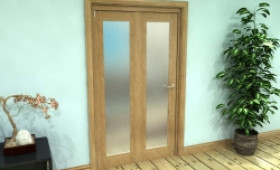 Frosted Glazed Oak Prefinished 2 Door Roomfold Grande (2 + 0 X 533mm Doors) Image