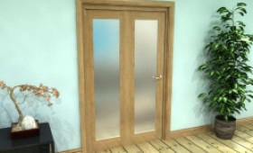 Frosted Glazed Oak Prefinished 2 Door Roomfold Grande (2 + 0 X 573mm Doors) Image