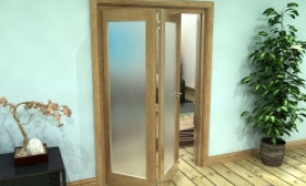 Frosted Glazed Oak Prefinished 2 Door Roomfold Grande (2 + 0 X 610mm Doors) Image