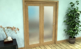 Frosted Glazed Oak Prefinished 2 Door Roomfold Grande (2 + 0 X 686mm Doors) Image