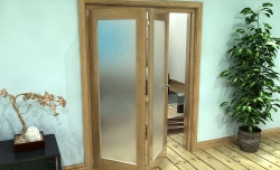 Frosted Glazed Oak Prefinished 2 Door Roomfold Grande (2 + 0 X 762mm Doors) Image