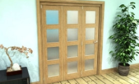 Frosted Glazed Oak Prefinished 3 Door 4l Roomfold Grande (3 + 0 X 533mm Doors) Image