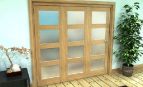 Frosted Glazed Oak Prefinished 3 Door 4l Roomfold Grande (3 + 0 X 686mm Doors) Image