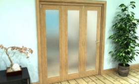 Frosted Glazed Oak Prefinished 3 Door Roomfold Grande 1800mm (6ft) Set Image