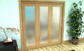 Frosted Glazed Oak Prefinished 3 Door Roomfold Grande (2 + 1 X 610mm Doors) Image