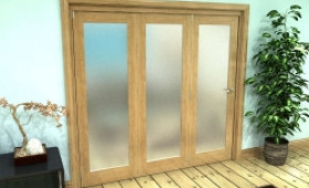 Frosted Glazed Oak Prefinished 3 Door Roomfold Grande (3 + 0 X 686mm Doors) Image