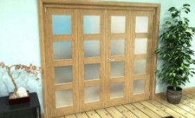 Frosted Glazed Oak Prefinished 4 Door 4l Roomfold Grande (2 + 2 X 533mm Doors) Image