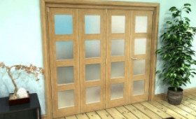 Frosted Glazed Oak Prefinished 4 Door 4l Roomfold Grande (3 + 1 X 533mm Doors) Image