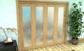 Frosted Glazed Oak Prefinished 4 Door Roomfold Grande 2400mm (8ft) 2 + 2 Set Image