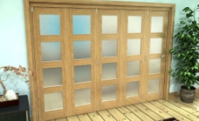 Frosted Glazed Oak Prefinished 5 Door 4l Roomfold Grande 3000mm (10ft) 5 + 0 Set Image