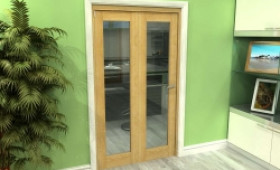Glazed Oak 2 Door Roomfold Grande (2 + 0 X 533mm Doors) Image