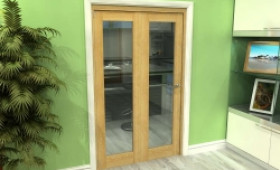 Glazed Oak 2 Door Roomfold Grande (2 + 0 X 573mm Doors) Image