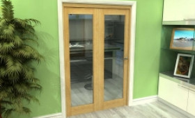 Glazed Oak 2 Door Roomfold Grande (2 + 0 X 610mm Doors) Image