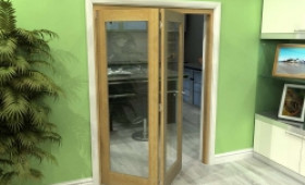 Glazed Oak 2 Door Roomfold Grande (2 + 0 X 686mm Doors) Image