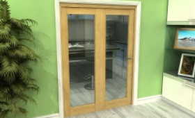 Glazed Oak 2 Door Roomfold Grande (2 + 0 X 762mm Doors) Image