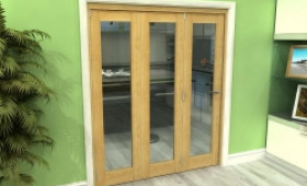 Glazed Oak 3 Door Roomfold Grande 1800mm (6ft) 3 + 0 Set Image