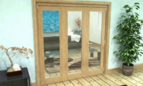 Glazed Oak 3 Door Roomfold Grande 2 + 1 X 1800mm (6ft) Set Image