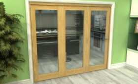 Glazed Oak 3 Door Roomfold Grande (3 + 0 X 762mm Doors) Image