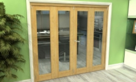 Glazed Oak 4 Door Roomfold Grande (2 + 2 X 533mm Doors) Image