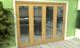 Glazed Oak 4 Door Roomfold Grande 2400mm (8ft) 2 + 2 Set Image