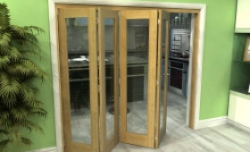 Glazed Oak 4 Door Roomfold Grande 2400mm (8ft) 4 + 0 Set Image