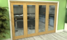 Glazed Oak 4 Door Roomfold Grande (3 + 1 X 686mm Doors) Image