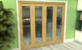 Glazed Oak 4 Door Roomfold Grande (4 + 0 X 533mm Doors) Image