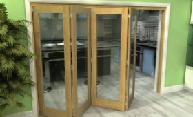 Glazed Oak 4 Door Roomfold Grande (4 + 0 X 686mm Doors) Image