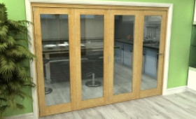 Glazed Oak 4 Door Roomfold Grande (4 + 0 X 762mm Doors) Image