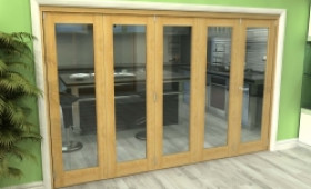 Glazed Oak 5 Door Roomfold Grande 3000mm (10ft) 4 + 1 Set Image