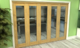 Glazed Oak 5 Door Roomfold Grande 3000mm (10ft) 5 + 0 Set Image