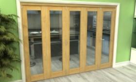 Glazed Oak 5 Door Roomfold Grande (4 + 1 X 533mm Doors) Image