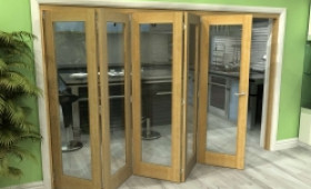 Glazed Oak 5 Door Roomfold Grande (5 + 0 X 686mm Doors) Image