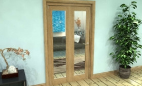 Glazed Oak Prefinished 2 Door Roomfold Grande (2 + 0 X 533mm Doors) Image