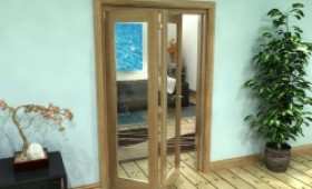 Glazed Oak Prefinished 2 Door Roomfold Grande (2 + 0 X 573mm Doors) Image